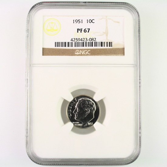 Certified 1951 proof U.S. Roosevelt dime