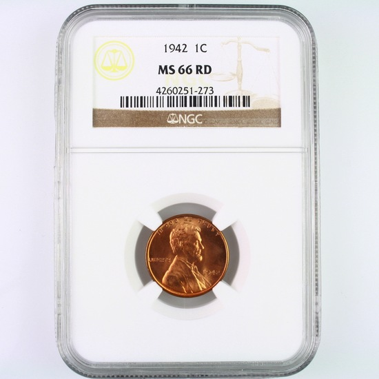 Certified 1942 U.S. Lincoln cent