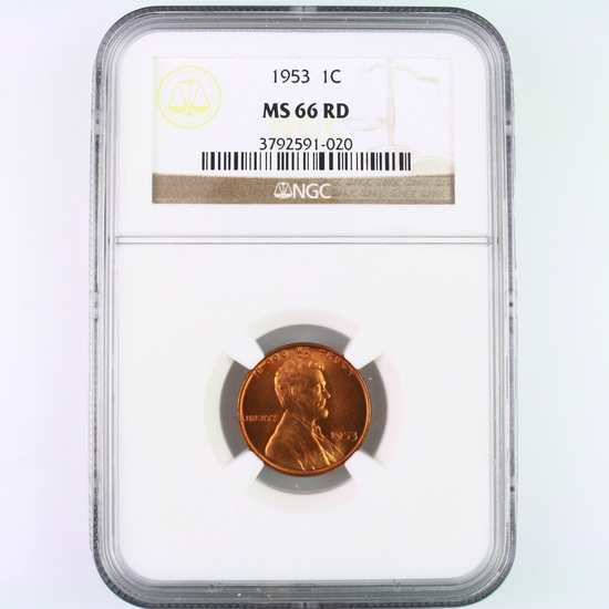 Certified 1953 U.S. Lincoln cent