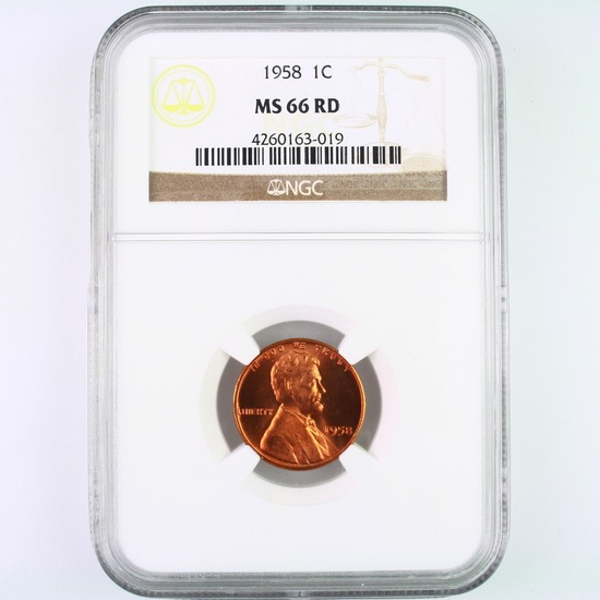 Certified 1958 U.S. Lincoln cent