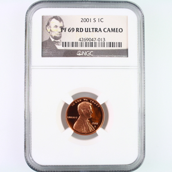 Certified 2001-S proof U.S. Lincoln cent