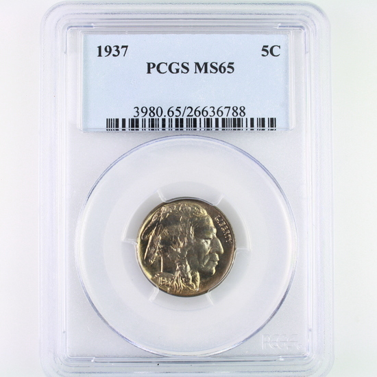 Certified 1937 U.S. buffalo nickel
