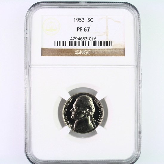 Certified 1953 proof U.S. Jefferson nickel