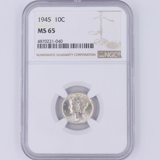 Certified 1945 U.S. Mercury dime