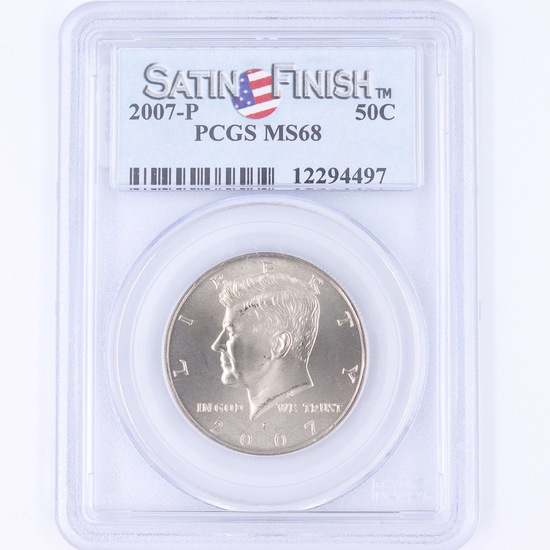 Certified 2007-P satin finish U.S. Kennedy half dollar