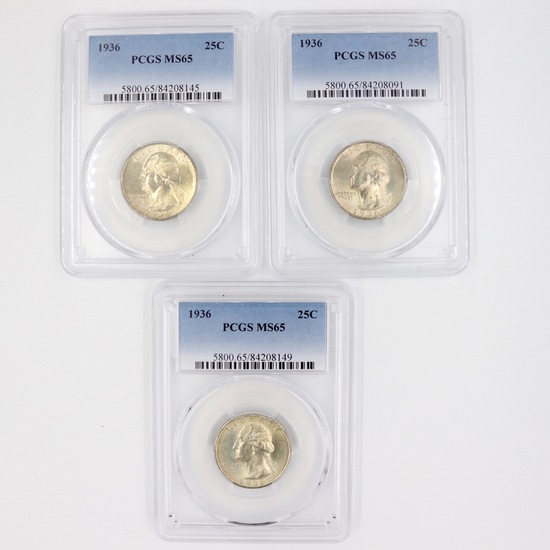 Investor's lot of 3 certified 1936 U.S. Washington quarters