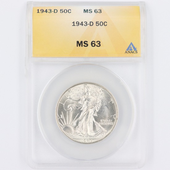 Certified 1943-D U.S. walking Liberty half dollar
