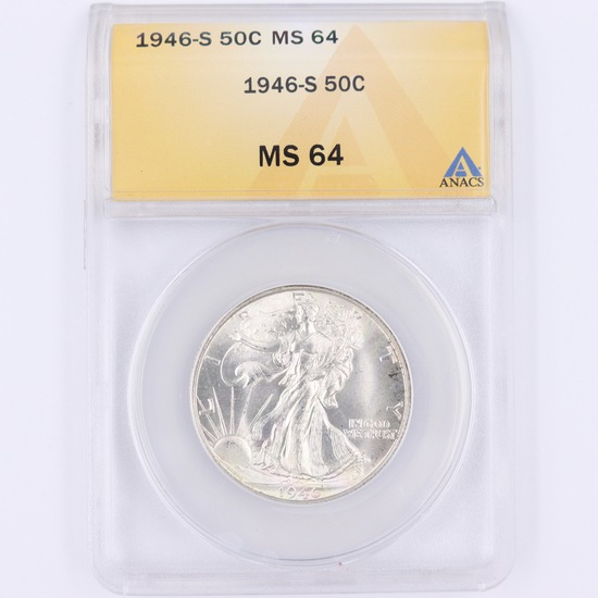 Certified 1946-S U.S. walking Liberty half dollar