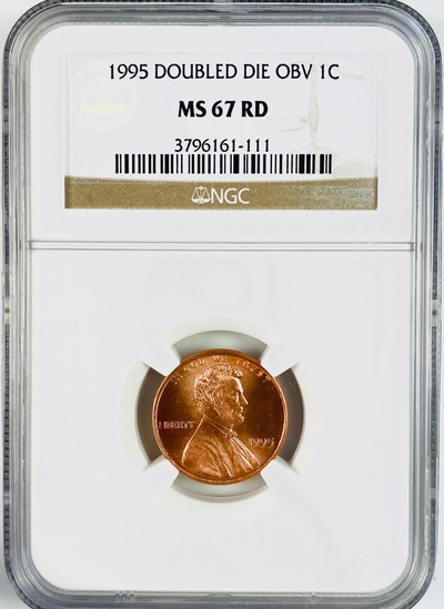 Certified error 1995 double die obverse U.S. Lincoln cent