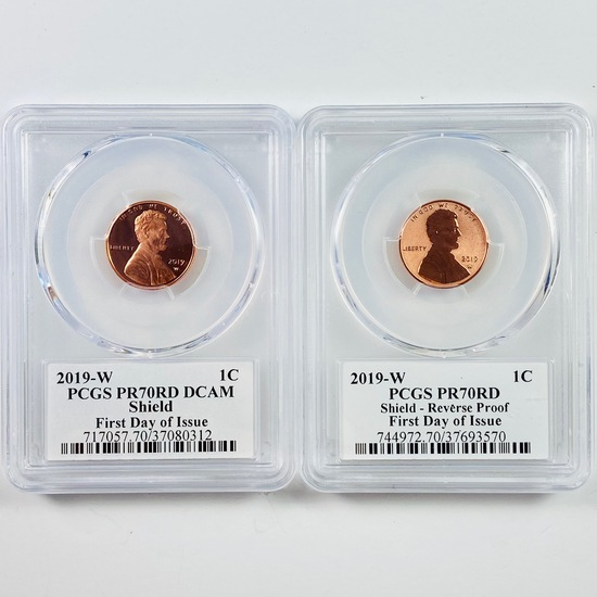Certified 2-piece proof & reverse proof 2019-W autographed U.S. Lincoln cents