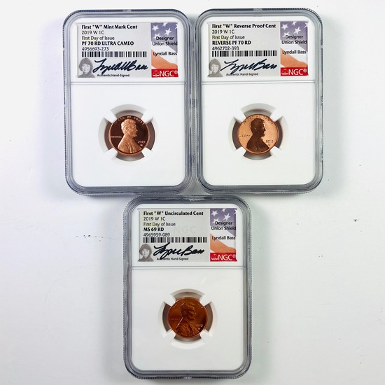 Certified 3-piece uncirculated, proof & reverse proof 2019-W autographed U.S. Lincoln cents