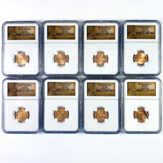 Complete certified 8-coin special mint set bronze 2009 P & D set of U.S. Lincoln cents