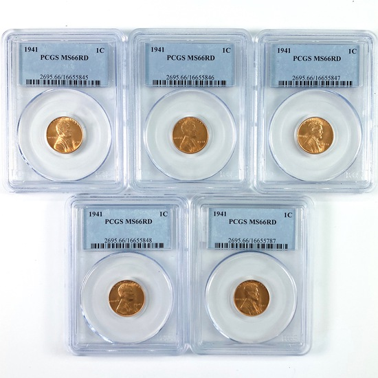 Lot of 5 certified 1941 U.S. Lincoln cents