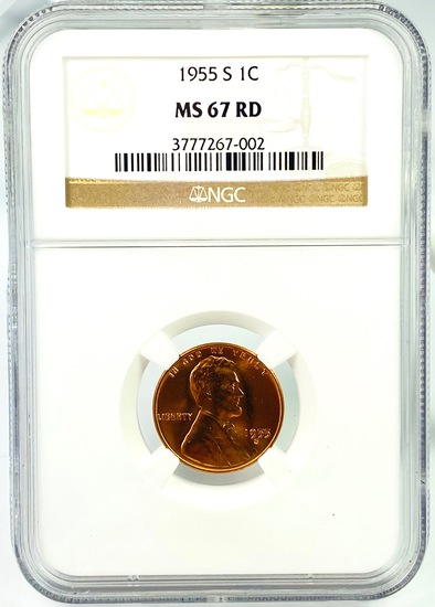 Certified 1955-S U.S. Lincoln cent