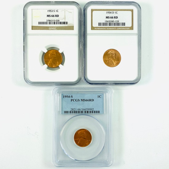 Lot of 3 certified mixed date U.S. Lincoln cents