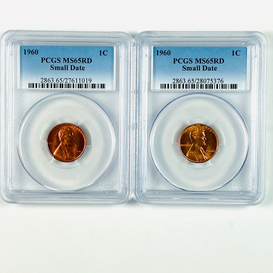 Pair of certified 1960 small date U.S. Lincoln cents