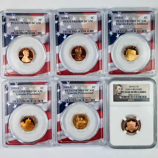 Lot of 6 certified mixed date proof U.S. Lincoln cents