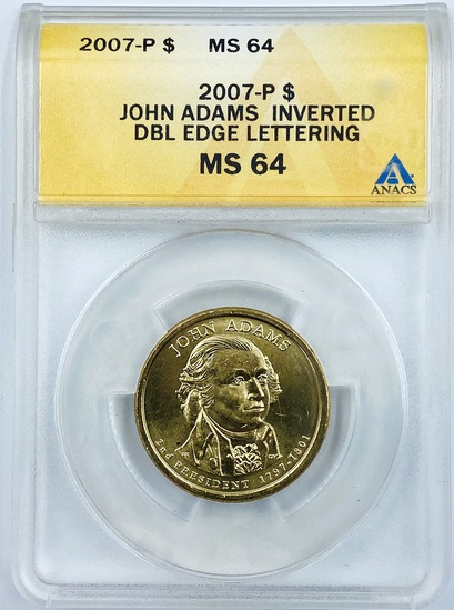 Certified 2007-P error U.S. John Adams presidential dollar