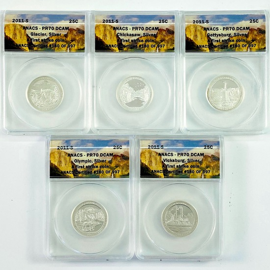 "Complete 5-piece set of 2011-S silver proof U.S. ""America The Beautiful"" national park quarters"