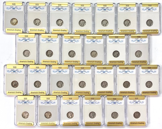 Lot of 26 different certified U.S. silver mercury dimes