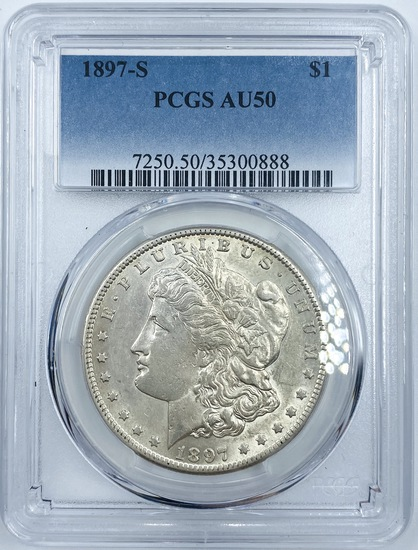 Certified 1897-S U.S. Morgan silver dollar