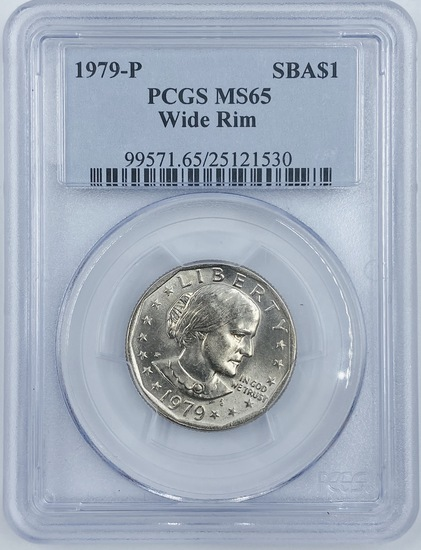 Certified 1979-P wide rim U.S. Susan B. Anthony dollar