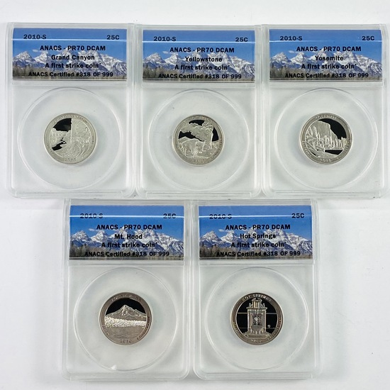 "Complete 5-piece set of 2010-S  proof U.S. ""America The Beautiful"" national park quarters"