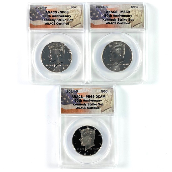 Certified 3-piece 50th anniversary set of 2014 U.S. Kennedy half dollars