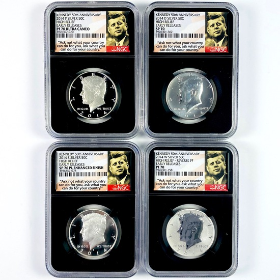 Certified 4-piece silver high relief 50th anniversary set of 2014 U.S. Kennedy half dollars
