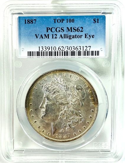 Certified 1887 TOP-100 VAM-12 Alligator Eye U.S. Morgan silver dollar