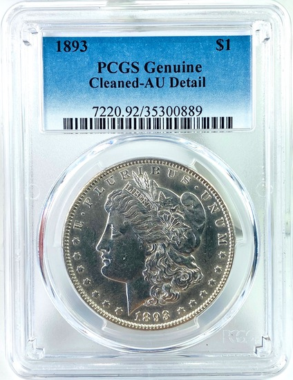 Certified 1893 U.S. Morgan silver dollar