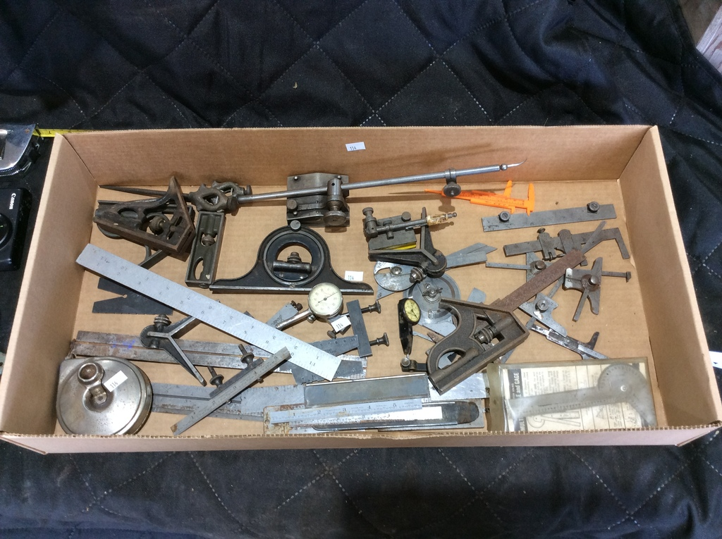 Box Lot of assorted Machinist Measuring Tools