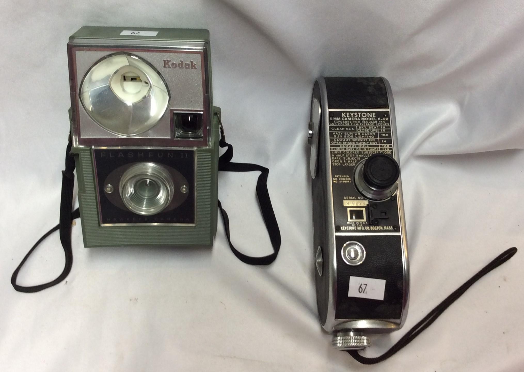 8Mm Vintage Camera keystone 8mm camera model no. k-22 and kodak flashfun ii
