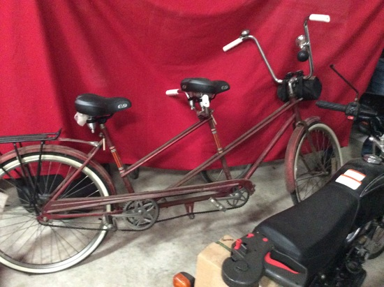 Vintage Tandem Bicycle with Baby Seat