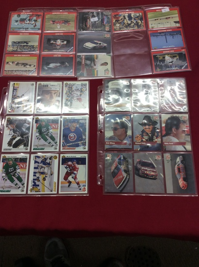 Sheets of NHL, Winston & Indy Car Collector Cards 36 Cards