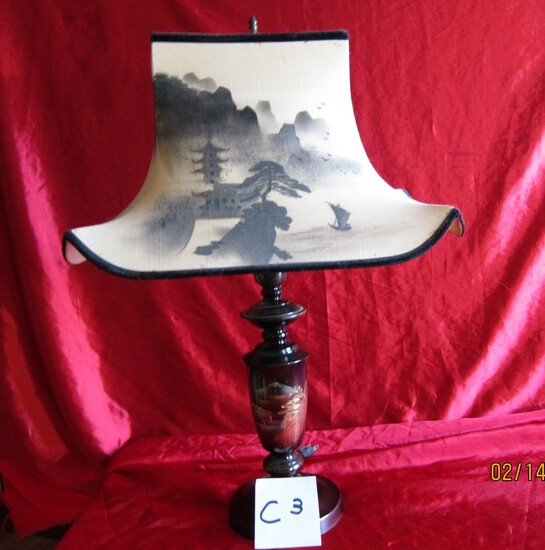 Japan Brass Lamp Metal Etched Occupied Era