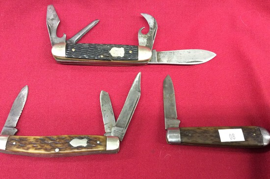 3 Pocket Knives ( 4 Blade Imperial, 3 Blade Kutmaster, 1 Blade Made in USA)