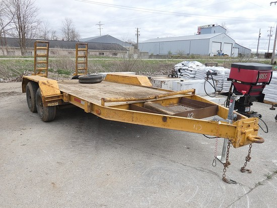 76''x14' Tandem Tag Trailer, Ramps (Yellow)
