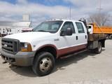 2005 Ford F350 4x4 Crew Cab S/A Flatbed, SN:1FDWW37Y45EB31119, V10 Gas, Aut