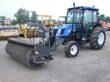 2005 New Holland TN60D Broom Tractor, SN:HJE028102, Cab/Air, 2wd, 3pt, PTO,