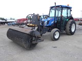 2004 New Holland TN60D Broom Tractor, SN:HJE007520, Cab / Air, 2wd, 3pt, PT
