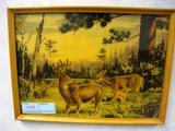 Deer Family, Painted on Glass, Framed