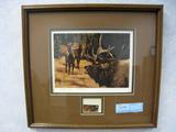 Linda M. Budge Wyoming Elk Stamp 1983, Print, No. 222/400, Signed, Framed