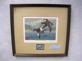 Les C. Kouba 1978 MN Waterfowl Hunting Stamp design, Print, No. 1878/3500, Signed, Framed