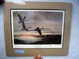Bud Grant & Les Kouba Lac Qui Parle Honkers, Print, No. 2024/2500, Dbl Signed, Framed