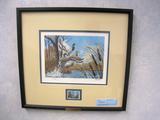Harold Roe Ducks Unlimited 1992 stamp design, Print, No. 2241/5000, Signed,, Framed