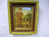 Vintage Boy Hunting w/ Dog, in Vintage Spoon Carved Frame