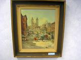 City Scape, Oil on Canvas, Signed, Artist Unknown