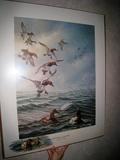 Split Decision - Canvasbacks, James A Meger, Dbl Signed, Artist's Proof, No. 45 of 58