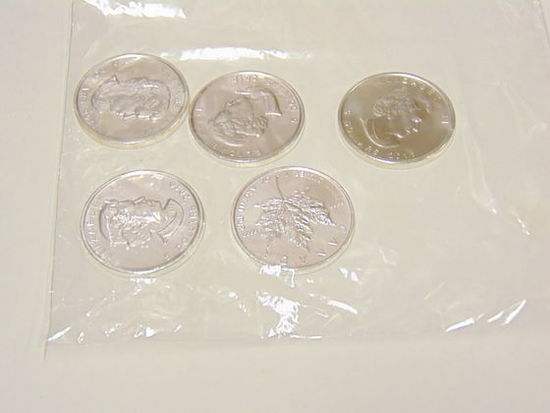 Lot of 5 1oz .999 Silver Maple Leaf Coins